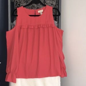 Loft Cold Shoulder Coral Blouse